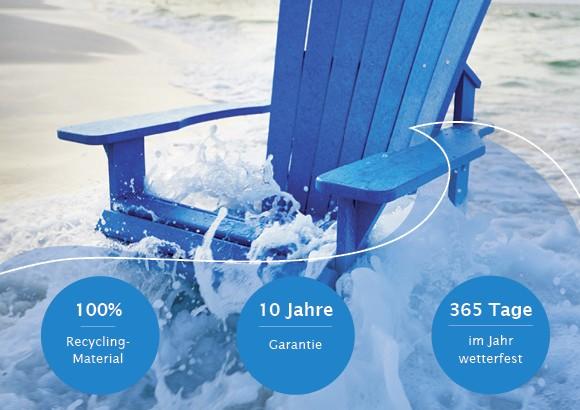 Kanadischer Fischerhüttenstuhl aus 100 % Recycling-Material, 10 Jahre Garantie auf Farbechtheit,365 Tage im jahr wetterfest